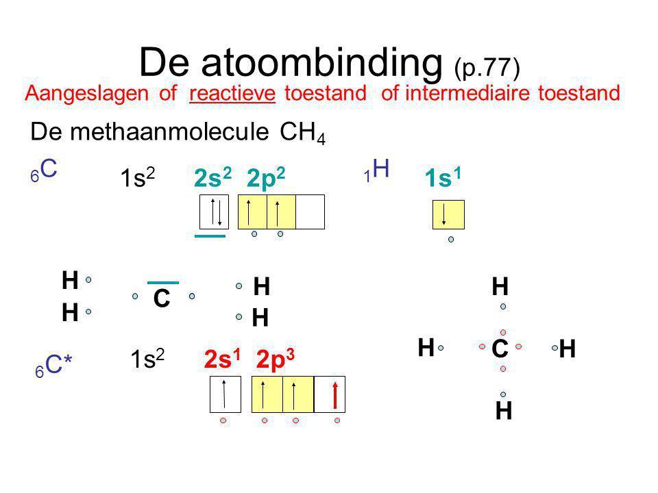 De atoombinding (p.77) De methaanmolecule CH 4 6 C 1 H 1s 2 2s 2 2p 2 1s 1 C H H H H 1s 2 2s 1 2p 3 C H H H H Aangeslagen of reactieve toestand of int