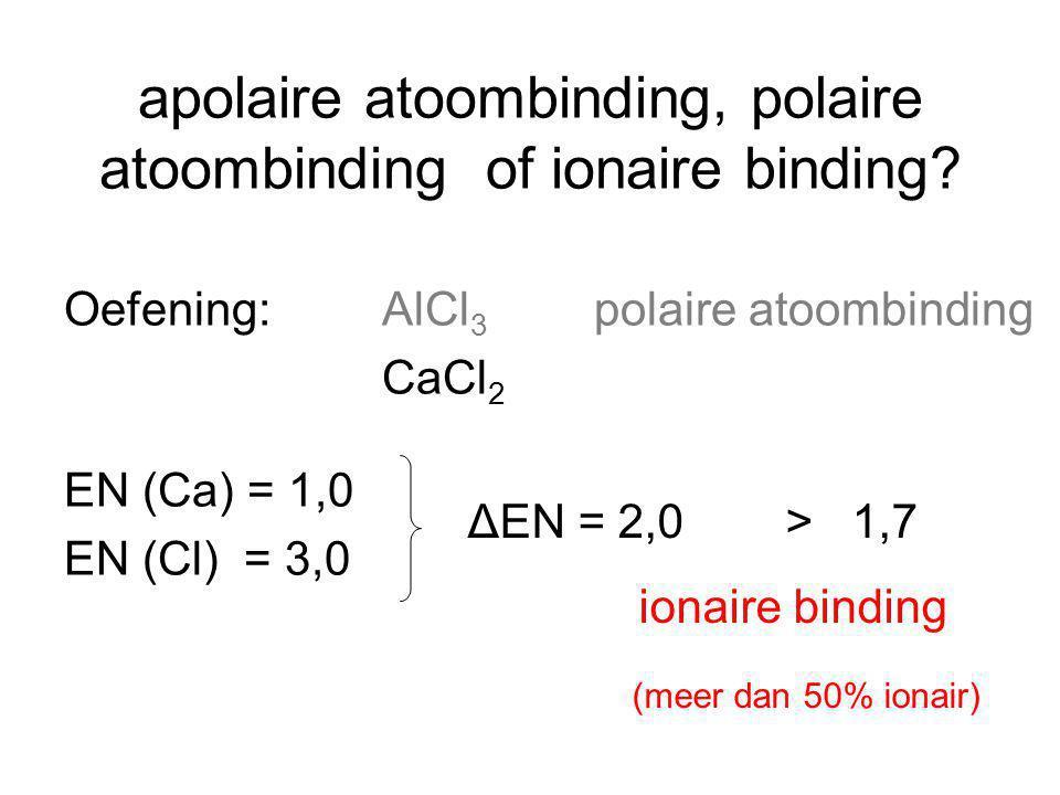 Oefening: AlCl 3 polaire atoombinding CaCl 2 EN (Ca) = 1,0 EN (Cl) = 3,0 ΔEN = 2,0> 1,7 ionaire binding (meer dan 50% ionair) apolaire atoombinding, p