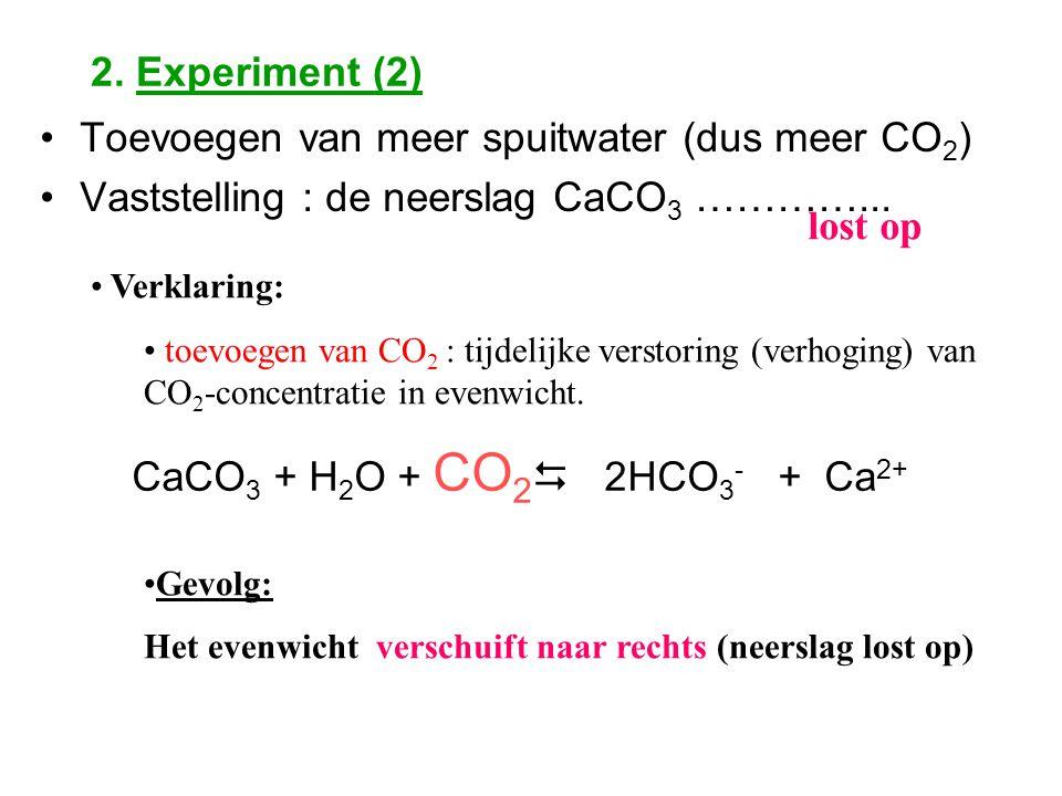 2. Experiment (2) Toevoegen van meer spuitwater (dus meer CO 2 ) Vaststelling : de neerslag CaCO 3 …………... lost op Verklaring: toevoegen van CO 2 : ti
