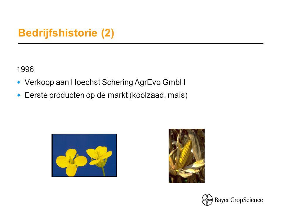 Bedrijfshistorie (2) 1996  Verkoop aan Hoechst Schering AgrEvo GmbH  Eerste producten op de markt (koolzaad, maïs)