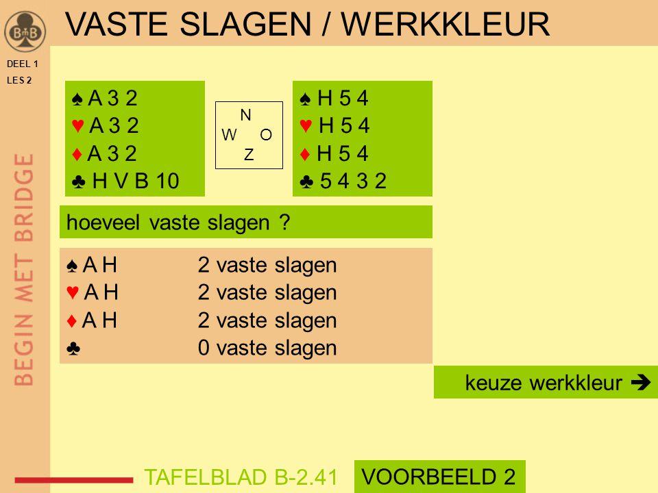DEEL 1 LES 2 ♠ A 3 2 ♥ A 3 2 ♦ A 3 2 ♣ H V B 10 ♠ H 5 4 ♥ H 5 4 ♦ H 5 4 ♣ 5 4 3 2 N W O Z hoeveel vaste slagen ? ♠ A H2 vaste slagen ♥ A H2 vaste slag