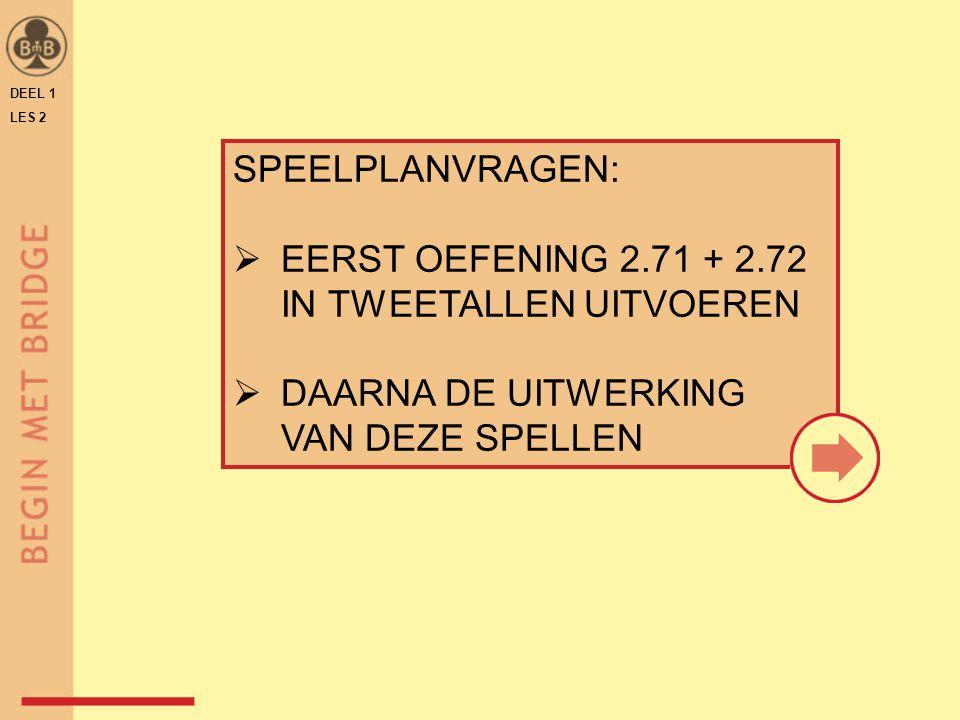 DEEL 1 LES 2 SPEELPLANVRAGEN:  EERST OEFENING 2.71 + 2.72 IN TWEETALLEN UITVOEREN  DAARNA DE UITWERKING VAN DEZE SPELLEN