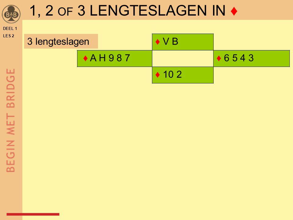 ♦ V B ♦ A H 9 8 7♦ 6 5 4 3 ♦ 10 2 DEEL 1 LES 2 3 lengteslagen 1, 2 OF 3 LENGTESLAGEN IN ♦
