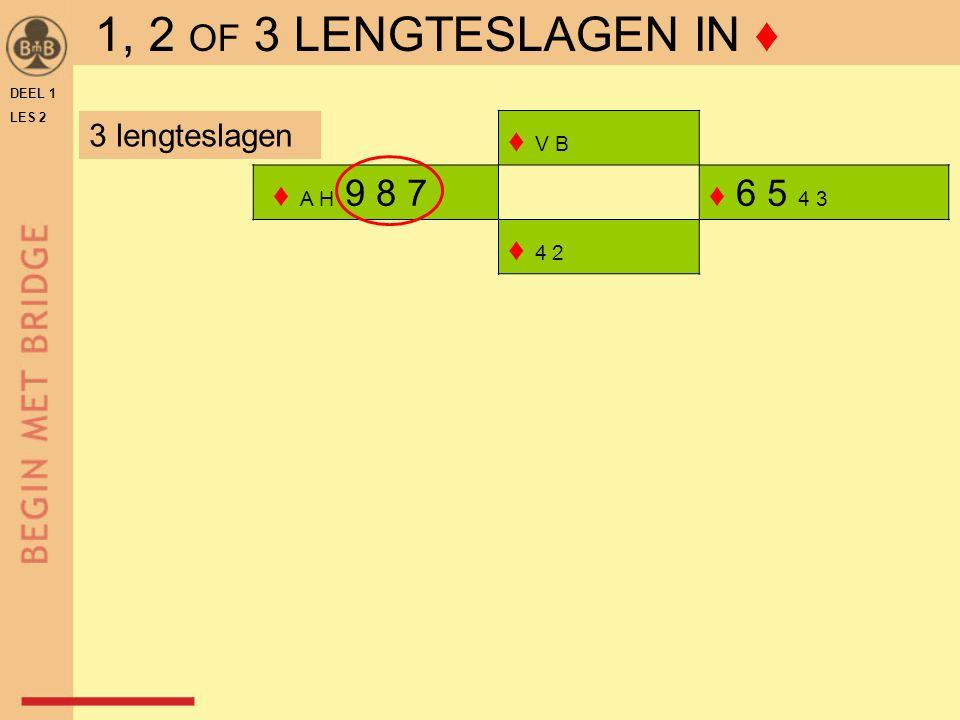 ♦ V B ♦ A H 9 8 7 ♦ 6 5 4 3 ♦ 4 2 DEEL 1 LES 2 3 lengteslagen 1, 2 OF 3 LENGTESLAGEN IN ♦