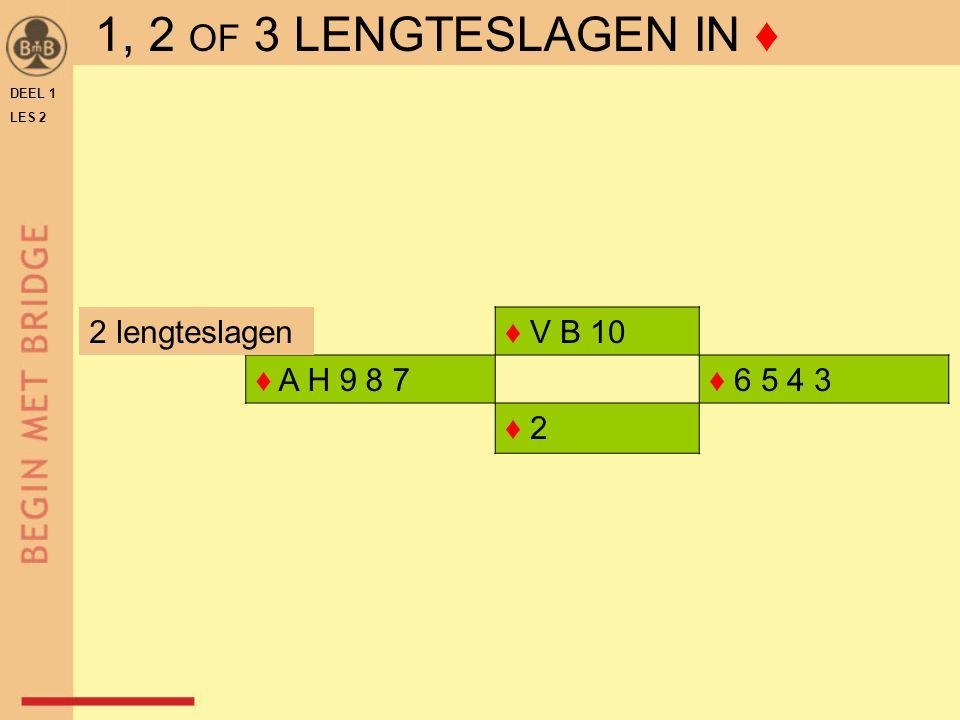 ♦ V B 10 ♦ A H 9 8 7♦ 6 5 4 3 ♦ 2 DEEL 1 LES 2 2 lengteslagen 1, 2 OF 3 LENGTESLAGEN IN ♦