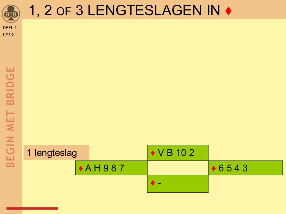 DEEL 1 LES 2 ♦ V B 10 2 ♦ A H 9 8 7♦ 6 5 4 3 ♦ - 1 lengteslag 1, 2 OF 3 LENGTESLAGEN IN ♦
