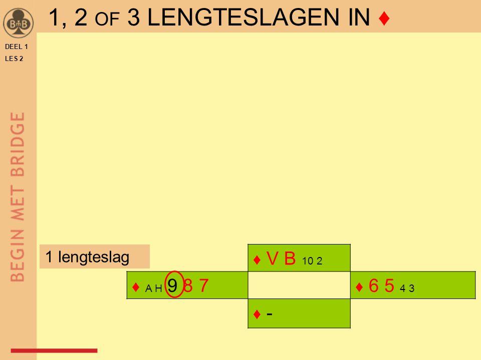 DEEL 1 LES 2 ♦ V B 10 2 ♦ A H 9 8 7 ♦ 6 5 4 3 ♦ -♦ - 1 lengteslag 1, 2 OF 3 LENGTESLAGEN IN ♦
