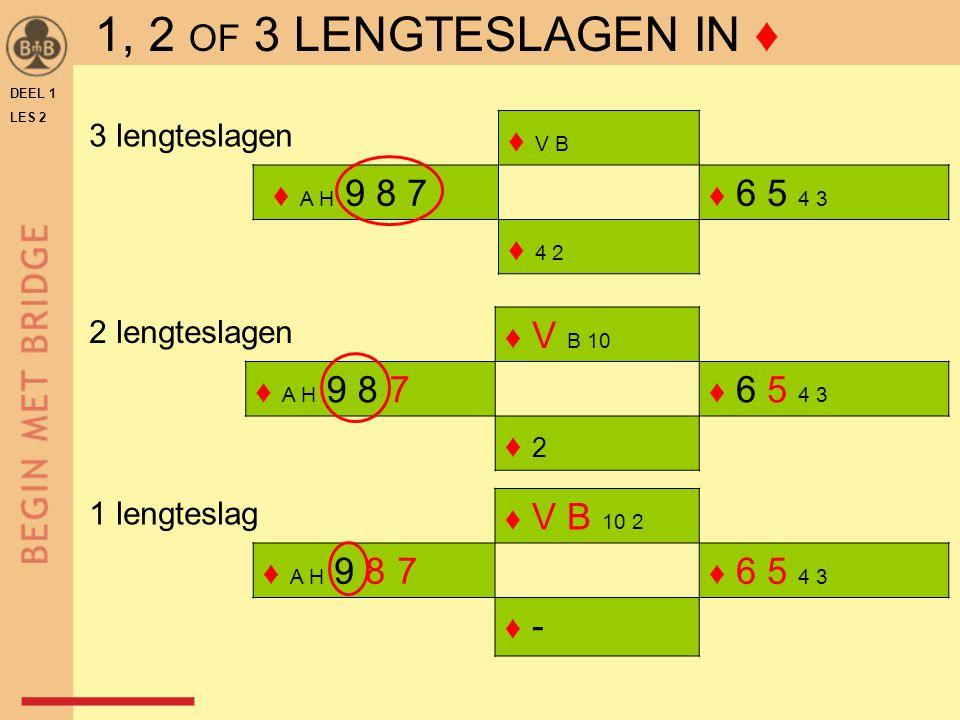 ♦ V B ♦ A H 9 8 7 ♦ 6 5 4 3 ♦ 4 2 ♦ V B 10 ♦ A H 9 8 7 ♦ 6 5 4 3 ♦ 2♦ 2 DEEL 1 LES 2 ♦ V B 10 2 ♦ A H 9 8 7 ♦ 6 5 4 3 ♦ -♦ - 3 lengteslagen 2 lengtesl