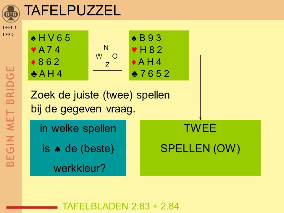 DEEL 1 LES 2 ♠ H V 6 5 ♥ A 7 4 ♦ 8 6 2 ♣ A H 4 TAFELBLADEN 2.83 + 2.84 Zoek de juiste (twee) spellen bij de gegeven vraag. in welke spellen is  de (b