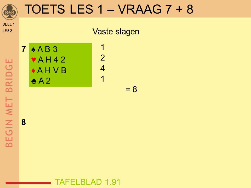 DEEL 1 LES 2 ♠ A B 3 ♥ A H 4 2 ♦ A H V B ♣ A 2 1 2 4 1 = 8 Vaste slagen 7 8 TAFELBLAD 1.91 TOETS LES 1 – VRAAG 7 + 8