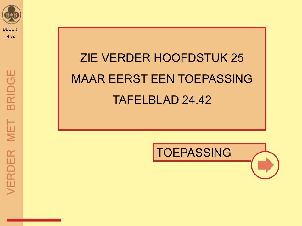 TOEPASSING ZIE VERDER HOOFDSTUK 25 MAAR EERST EEN TOEPASSING TAFELBLAD 24.42 DEEL 3 H 24