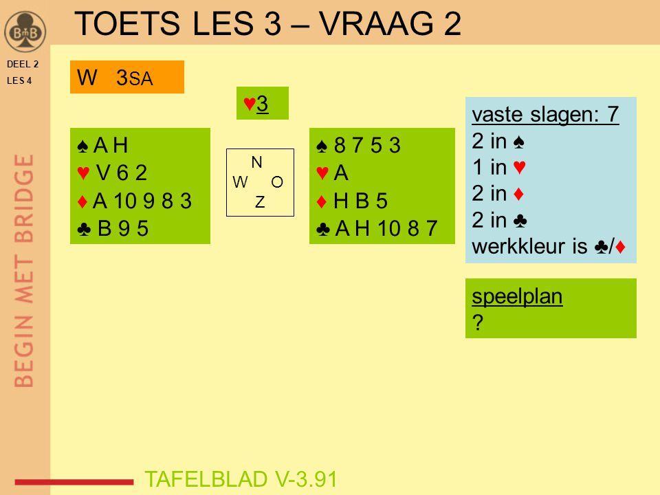DEEL 2 LES 4 ♠ A H ♥ V 6 2 ♦ A 10 9 8 3 ♣ B 9 5 ♠ 8 7 5 3 ♥ A ♦ H B 5 ♣ A H 10 8 7 N W O Z TAFELBLAD V-3.91 ♥3♥3 vaste slagen: 7 2 in ♠ 1 in ♥ 2 in ♦