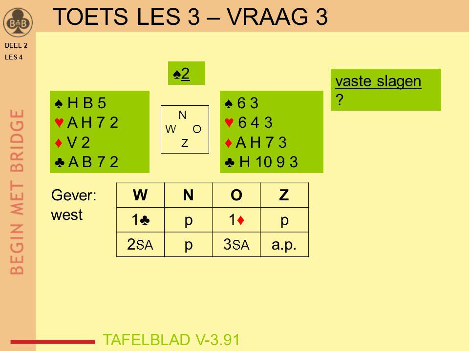 DEEL 2 LES 4 ♠ H B 5 ♥ A H 7 2 ♦ V 2 ♣ A B 7 2 ♠ 6 3 ♥ 6 4 3 ♦ A H 7 3 ♣ H 10 9 3 N W O Z WNOZ 1♣p1♦1♦p 2 SA p3 SA a.p. TAFELBLAD V-3.91 Gever: west ♠