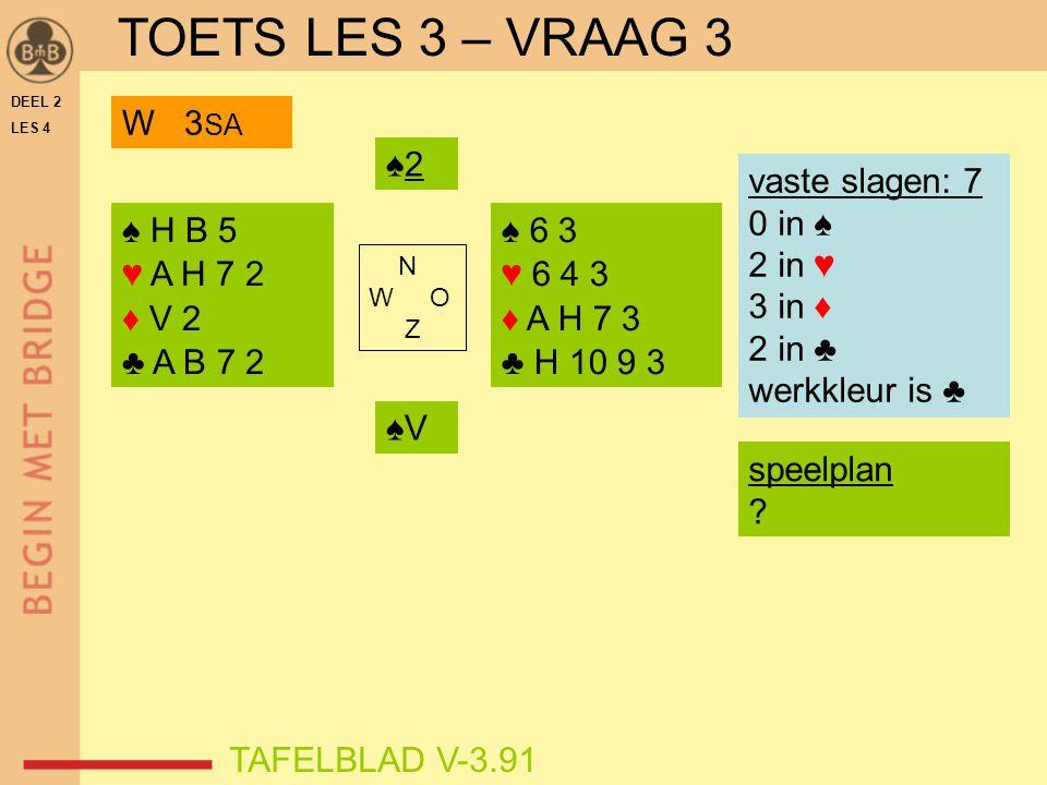 DEEL 2 LES 4 ♠ H B 5 ♥ A H 7 2 ♦ V 2 ♣ A B 7 2 ♠ 6 3 ♥ 6 4 3 ♦ A H 7 3 ♣ H 10 9 3 N W O Z TAFELBLAD V-3.91 ♠2♠2 vaste slagen: 7 0 in ♠ 2 in ♥ 3 in ♦ 2