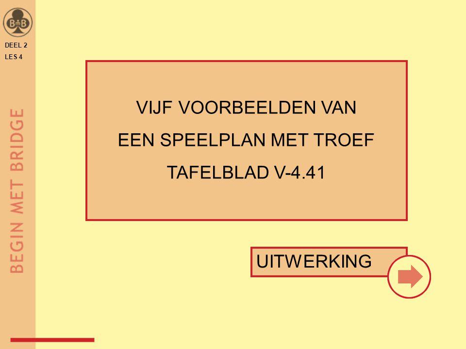 DEEL 2 LES 4 VIJF VOORBEELDEN VAN EEN SPEELPLAN MET TROEF TAFELBLAD V-4.41 UITWERKING
