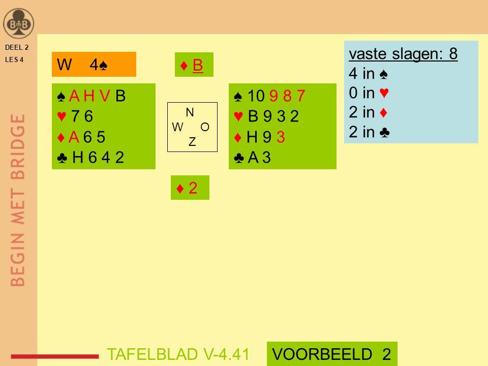 DEEL 2 LES 4 ♠ A H V B ♥ 7 6 ♦ A 6 5 ♣ H 6 4 2 ♠ 10 9 8 7 ♥ B 9 3 2 ♦ H 9 3 ♣ A 3 N W O Z W 4♠ vaste slagen: 8 4 in ♠ 0 in ♥ 2 in ♦ 2 in ♣ ♦ B♦ B ♦ 2♦