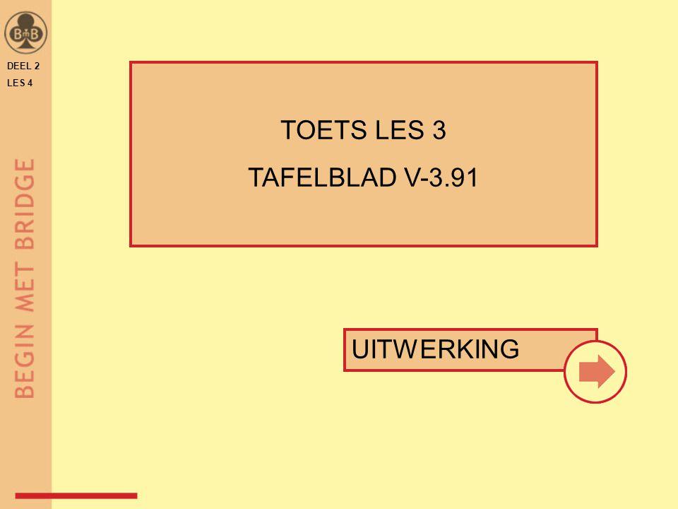 DEEL 2 LES 4 N W O Z WNOZ 1♥1♥p1 SA p 3 SA ppp TAFELBLAD V-3.91 Gever: west vaste slagen .