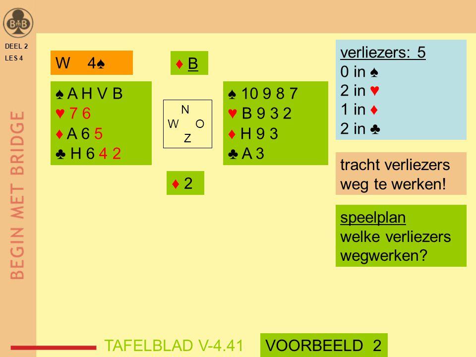 DEEL 2 LES 4 ♠ A H V B ♥ 7 6 ♦ A 6 5 ♣ H 6 4 2 ♠ 10 9 8 7 ♥ B 9 3 2 ♦ H 9 3 ♣ A 3 N W O Z verliezers: 5 0 in ♠ 2 in ♥ 1 in ♦ 2 in ♣ ♦ B♦ B ♦ 2 tracht