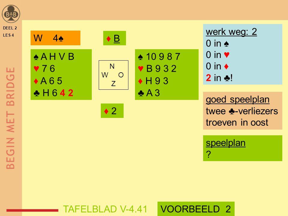 DEEL 2 LES 4 ♠ A H V B ♥ 7 6 ♦ A 6 5 ♣ H 6 4 2 ♠ 10 9 8 7 ♥ B 9 3 2 ♦ H 9 3 ♣ A 3 N W O Z werk weg: 2 0 in ♠ 0 in ♥ 0 in ♦ 2 in ♣! ♦ B♦ B ♦ 2 speelpla