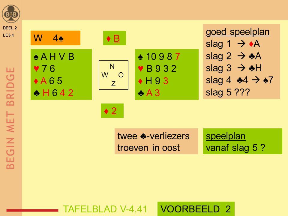 DEEL 2 LES 4 ♠ A H V B ♥ 7 6 ♦ A 6 5 ♣ H 6 4 2 ♠ 10 9 8 7 ♥ B 9 3 2 ♦ H 9 3 ♣ A 3 N W O Z twee ♣-verliezers troeven in oost goed speelplan slag 1  ♦A