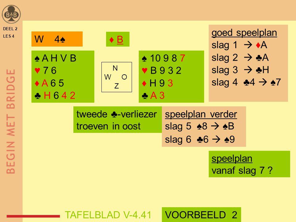 DEEL 2 LES 4 N W O Z tweede ♣-verliezer troeven in oost speelplan verder slag 5 ♠8  ♠B slag 6 ♣6  ♠9 ♠ 10 9 8 7 ♥ B 9 3 2 ♦ H 9 3 ♣ A 3 ♠ A H V B ♥