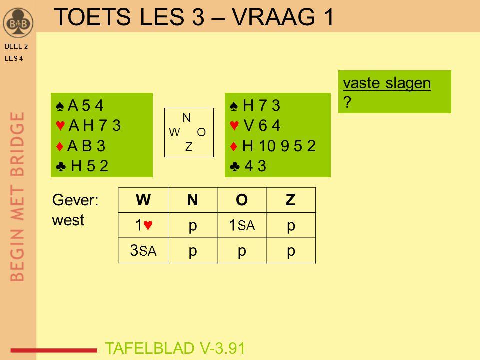 DEEL 2 LES 4 N W O Z tweede ♣-verliezer troeven in oost speelplan verder slag 5 ♠8  ♠B slag 6 ♣6  ♠9 ♠ 10 9 8 7 ♥ B 9 3 2 ♦ H 9 3 ♣ A 3 ♠ A H V B ♥ 7 6 ♦ A 6 5 ♣ H 6 4 2 goed speelplan slag 1  ♦A slag 2  ♣A slag 3  ♣H slag 4 ♣4  ♠7 TAFELBLAD V-4.41VOORBEELD 2 speelplan vanaf slag 7 .