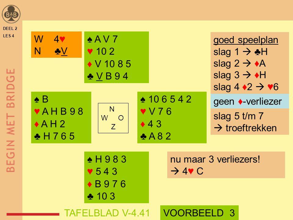 DEEL 2 LES 4 ♠ B ♥ A H B 9 8 ♦ A H 2 ♣ H 7 6 5 ♠ 10 6 5 4 2 ♥ V 7 6 ♦ 4 3 ♣ A 8 2 N W O Z W 4♥ N ♣V ♠ A V 7 ♥ 10 2 ♦ V 10 8 5 ♣ V B 9 4 ♠ H 9 8 3 ♥ 5