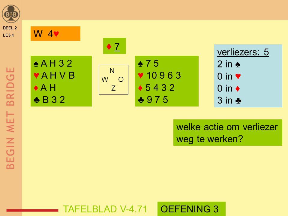DEEL 2 LES 4 ♠ A H 3 2 ♥ A H V B ♦ A H ♣ B 3 2 ♠ 7 5 ♥ 10 9 6 3 ♦ 5 4 3 2 ♣ 9 7 5 N W O Z TAFELBLAD V-4.71 ♦ 7♦ 7 verliezers: 5 2 in ♠ 0 in ♥ 0 in ♦ 3