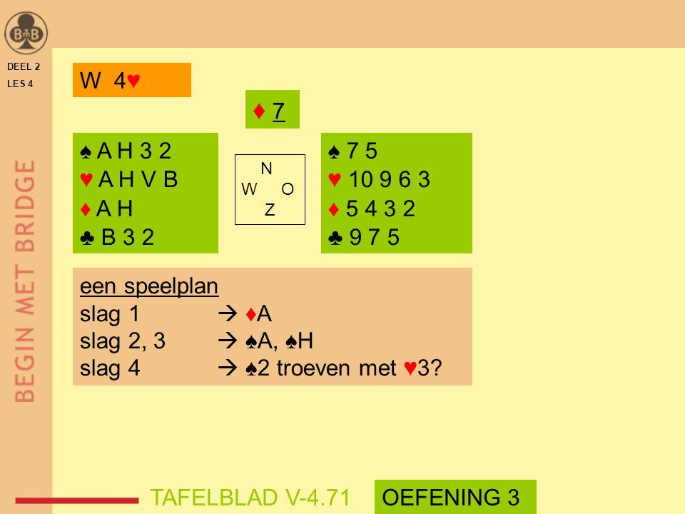 DEEL 2 LES 4 ♠ A H 3 2 ♥ A H V B ♦ A H ♣ B 3 2 ♠ 7 5 ♥ 10 9 6 3 ♦ 5 4 3 2 ♣ 9 7 5 N W O Z TAFELBLAD V-4.71 ♦ 7♦ 7 een speelplan slag 1  ♦A slag 2, 3