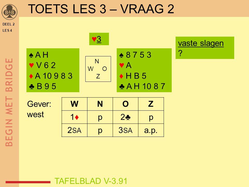 DEEL 2 LES 4 ♠ A V B 10 9 ♥ A H 6 ♦ A 8 2 ♣ A 2 ♠ H 8 7 ♥ 5 2 ♦ 9 7 5 3 ♣ 6 5 4 3 N W O Z TAFELBLAD V-4.71 ♦ H♦ H speelplan slag 1  ♦A slag 2, 3  ♥A, ♥H slag 4  ♥6 troeven met ♠7 slag 5+  troeftrekken is er een veiliger speelplan.