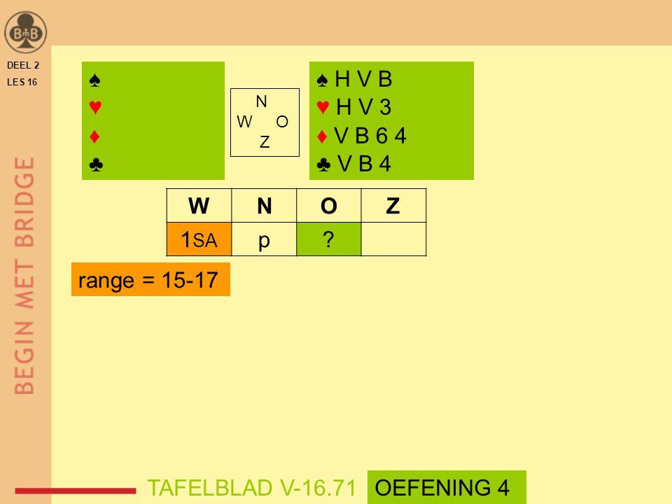 WNOZ 1 SA p? range = 15-17 DEEL 2 LES 16 N W O Z ♠♥♦♣♠♥♦♣ ♠ H V B ♥ H V 3 ♦ V B 6 4 ♣ V B 4 TAFELBLAD V-16.71OEFENING 4