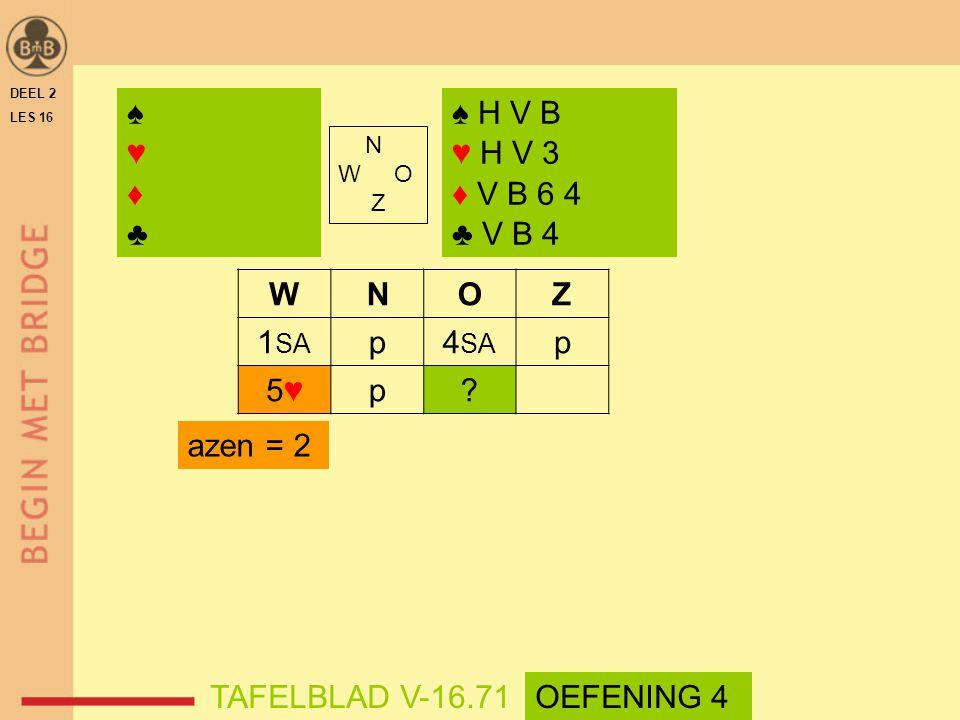 WNOZ 1 SA p4 SA p 5♥5♥p? DEEL 2 LES 16 N W O Z ♠♥♦♣♠♥♦♣ ♠ H V B ♥ H V 3 ♦ V B 6 4 ♣ V B 4 azen = 2 TAFELBLAD V-16.71OEFENING 4