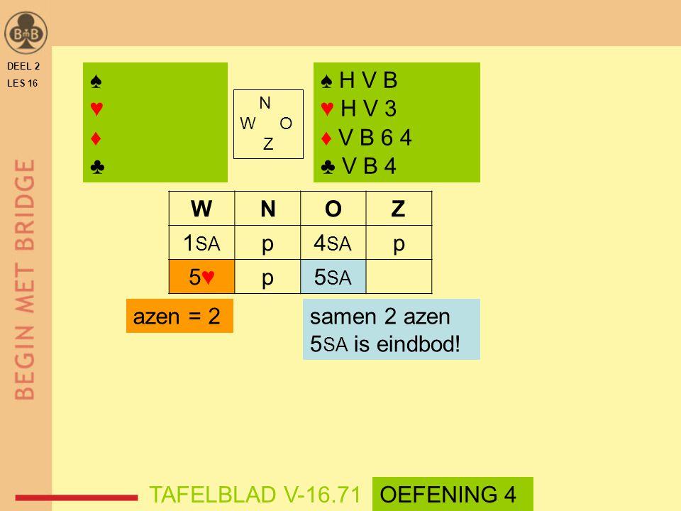 WNOZ 1 SA p4 SA p 5♥5♥p5 SA samen 2 azen 5 SA is eindbod! DEEL 2 LES 16 N W O Z ♠♥♦♣♠♥♦♣ ♠ H V B ♥ H V 3 ♦ V B 6 4 ♣ V B 4 azen = 2 TAFELBLAD V-16.71O