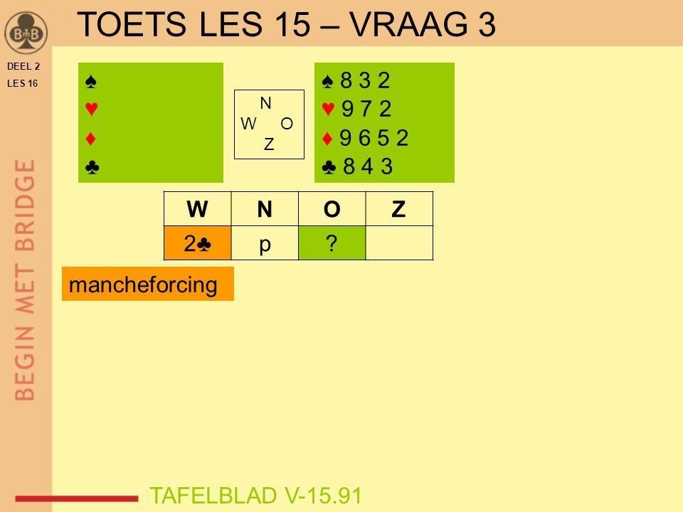 DEEL 2 LES 16 N W O Z WNOZ 2♣p? ♠♥♦♣♠♥♦♣ TAFELBLAD V-15.91 ♠ 8 3 2 ♥ 9 7 2 ♦ 9 6 5 2 ♣ 8 4 3 mancheforcing TOETS LES 15 – VRAAG 3