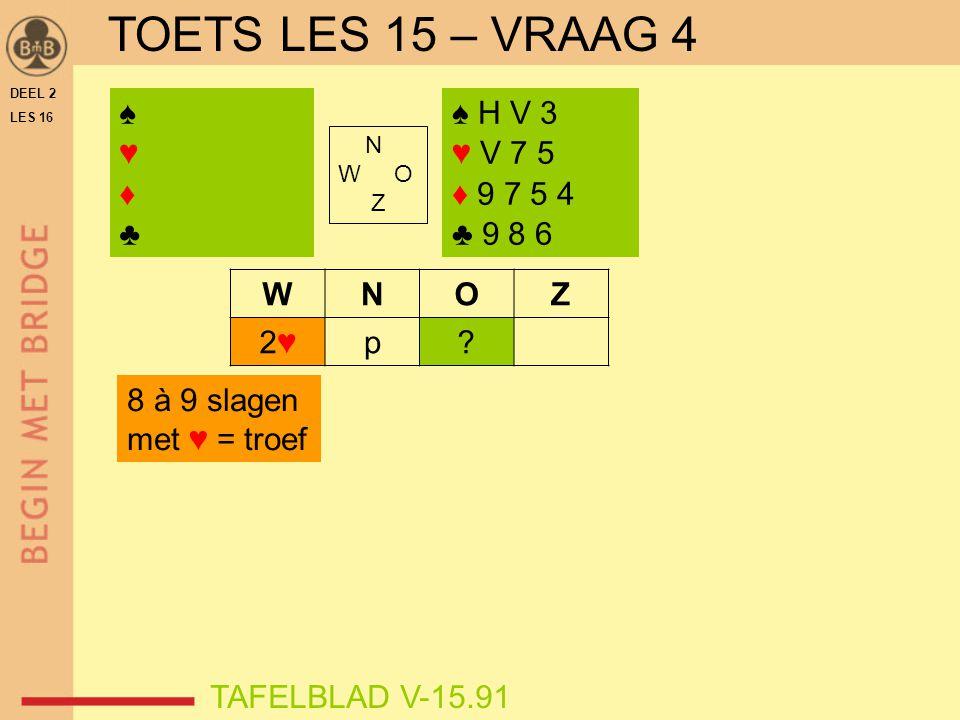 DEEL 2 LES 16 N W O Z WNOZ 2♥2♥p? ♠♥♦♣♠♥♦♣ TAFELBLAD V-15.91 ♠ H V 3 ♥ V 7 5 ♦ 9 7 5 4 ♣ 9 8 6 8 à 9 slagen met ♥ = troef TOETS LES 15 – VRAAG 4