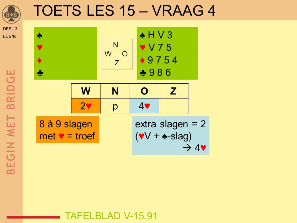 DEEL 2 LES 16 N W O Z WNOZ 2♥2♥p4♥4♥ ♠♥♦♣♠♥♦♣ TAFELBLAD V-15.91 ♠ H V 3 ♥ V 7 5 ♦ 9 7 5 4 ♣ 9 8 6 8 à 9 slagen met ♥ = troef extra slagen = 2 (♥V + ♠-