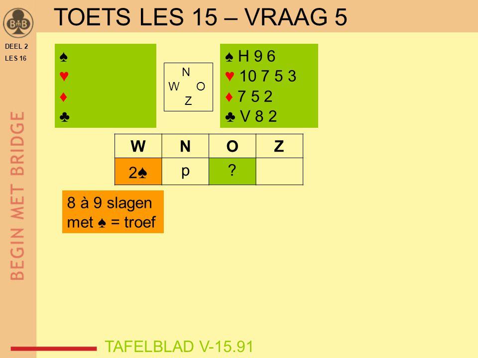 DEEL 2 LES 16 N W O Z WNOZ 2♠2♠ p? ♠♥♦♣♠♥♦♣ TAFELBLAD V-15.91 ♠ H 9 6 ♥ 10 7 5 3 ♦ 7 5 2 ♣ V 8 2 8 à 9 slagen met ♠ = troef TOETS LES 15 – VRAAG 5