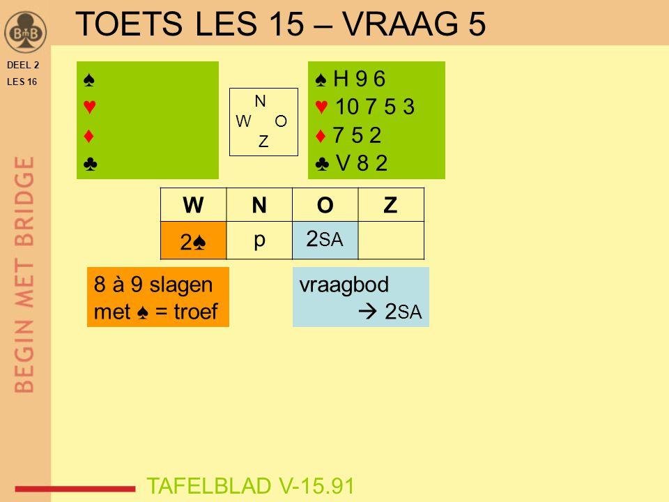 DEEL 2 LES 16 N W O Z WNOZ 2♠2♠ p2 SA ♠♥♦♣♠♥♦♣ TAFELBLAD V-15.91 8 à 9 slagen met ♠ = troef vraagbod  2 SA ♠ H 9 6 ♥ 10 7 5 3 ♦ 7 5 2 ♣ V 8 2 TOETS L