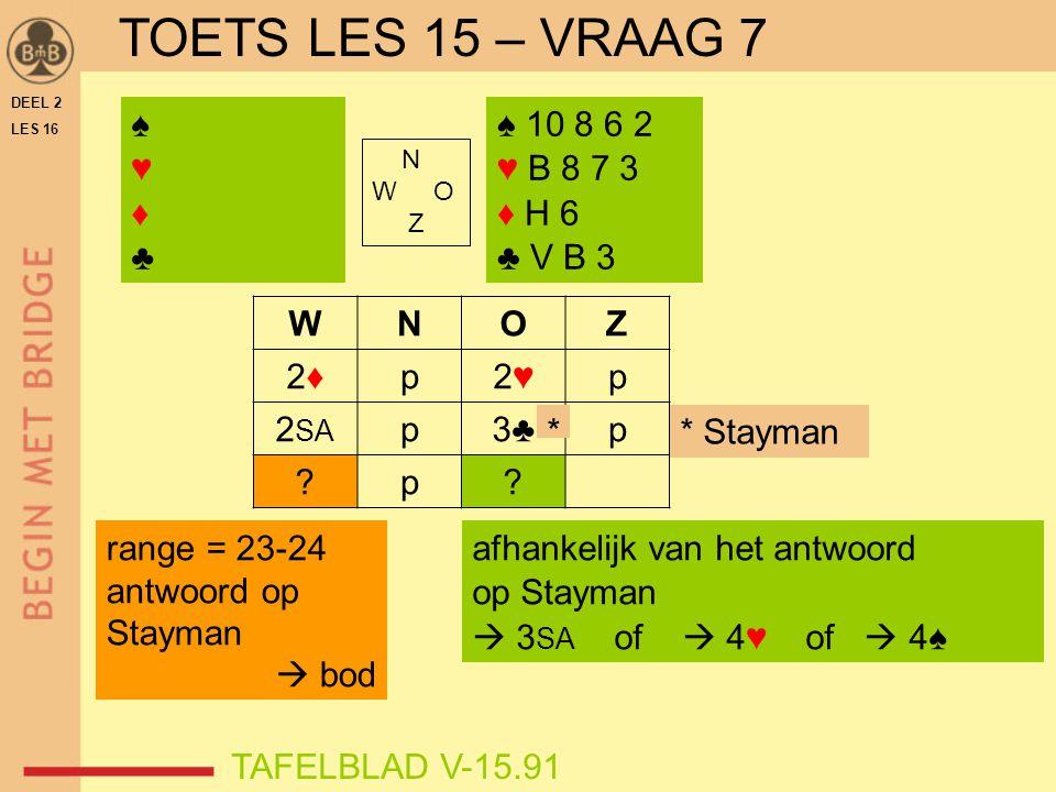 DEEL 2 LES 16 N W O Z WNOZ 2♦2♦p2♥2♥p 2 SA p3♣p ?p? ♠♥♦♣♠♥♦♣ TAFELBLAD V-15.91 range = 23-24 antwoord op Stayman  bod * Stayman ♠ 10 8 6 2 ♥ B 8 7 3