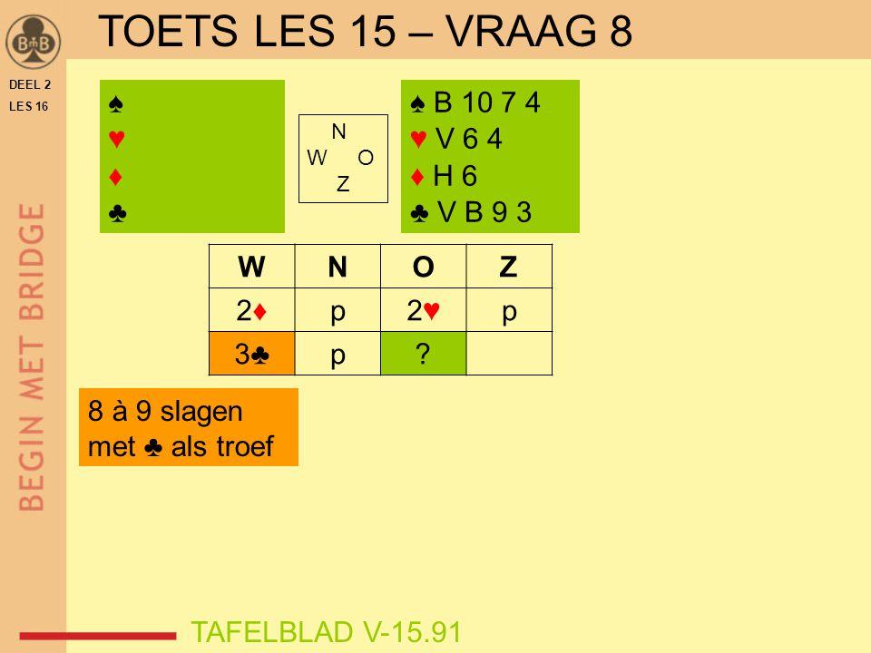DEEL 2 LES 16 N W O Z WNOZ 2♦2♦p2♥2♥p 3♣p? ♠♥♦♣♠♥♦♣ TAFELBLAD V-15.91 ♠ B 10 7 4 ♥ V 6 4 ♦ H 6 ♣ V B 9 3 8 à 9 slagen met ♣ als troef TOETS LES 15 – V