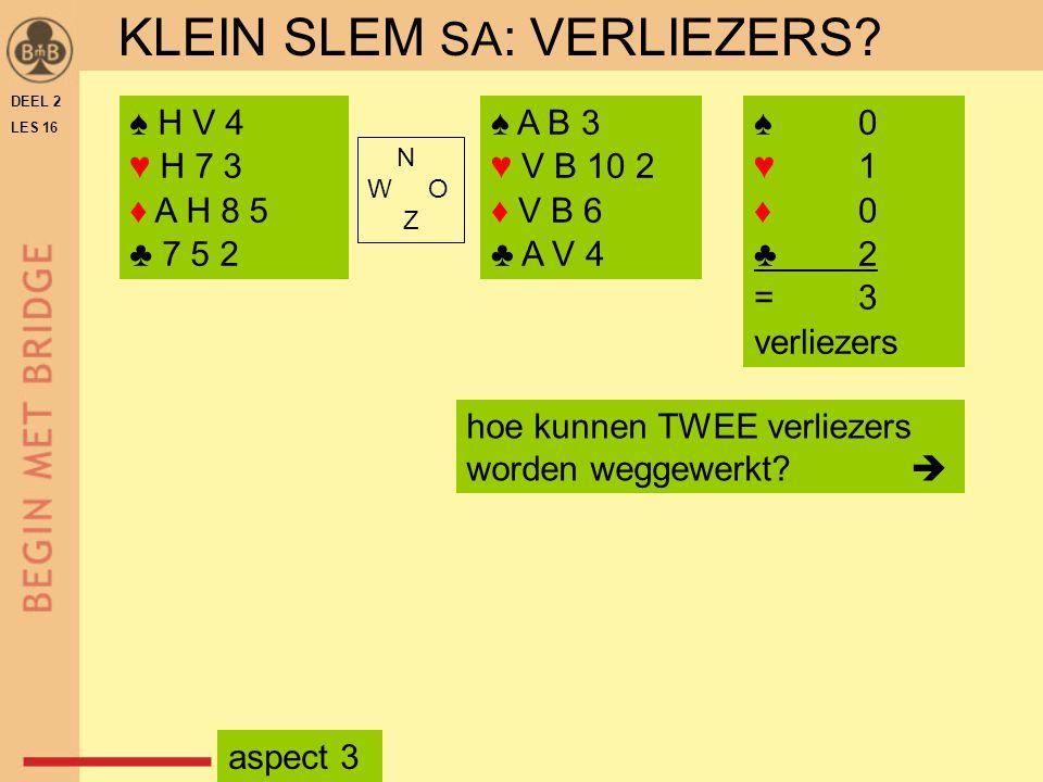 DEEL 2 LES 16 N W O Z ♠ H V 4 ♥ H 7 3 ♦ A H 8 5 ♣ 7 5 2 ♠ A B 3 ♥ V B 10 2 ♦ V B 6 ♣ A V 4 hoe kunnen TWEE verliezers worden weggewerkt?  ♠ 0 ♥ 1 ♦ 0