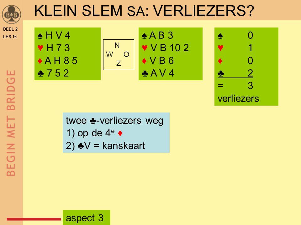 DEEL 2 LES 16 N W O Z ♠ H V 4 ♥ H 7 3 ♦ A H 8 5 ♣ 7 5 2 ♠ A B 3 ♥ V B 10 2 ♦ V B 6 ♣ A V 4 twee ♣-verliezers weg 1) op de 4 e ♦ 2) ♣V = kanskaart ♠ 0