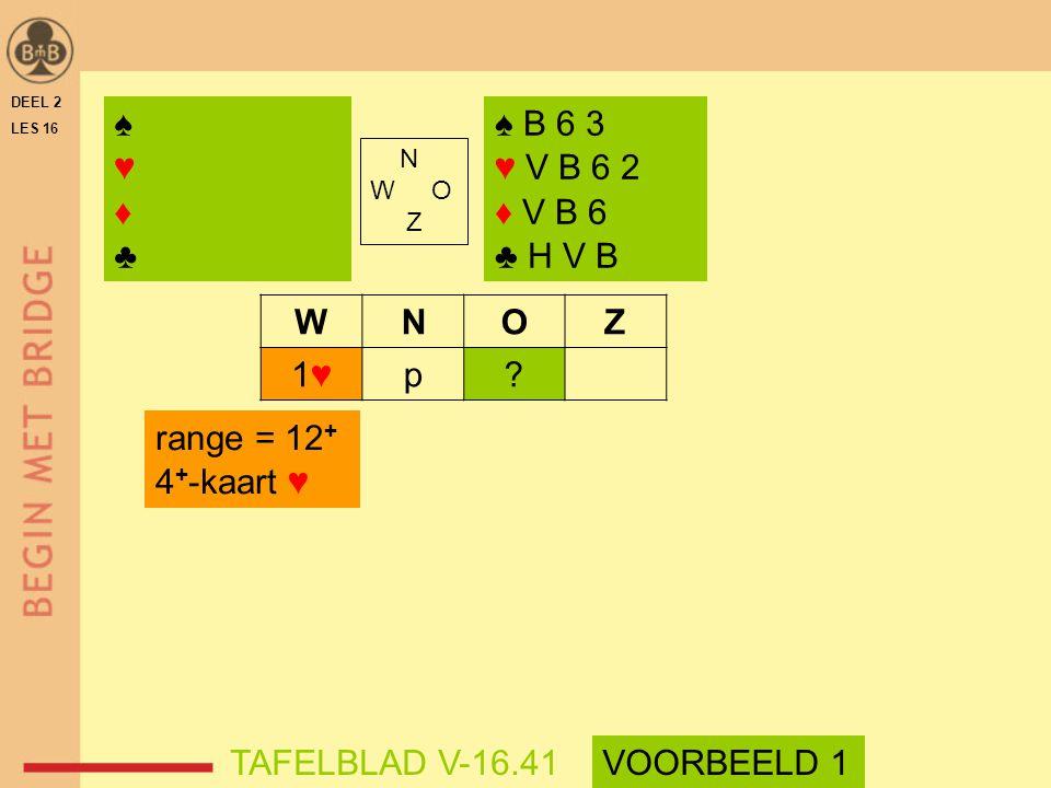 WNOZ 1♥1♥p? range = 12 + 4 + -kaart ♥ DEEL 2 LES 16 N W O Z ♠ B 6 3 ♥ V B 6 2 ♦ V B 6 ♣ H V B ♠♥♦♣♠♥♦♣ TAFELBLAD V-16.41VOORBEELD 1