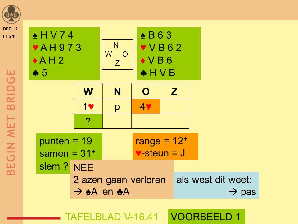 WNOZ 1♥1♥p4♥4♥ ? DEEL 2 LES 16 N W O Z ♠ H V 7 4 ♥ A H 9 7 3 ♦ A H 2 ♣ 5 punten = 19 samen = 31 + slem ? range = 12 + ♥-steun = J TAFELBLAD V-16.41VOO