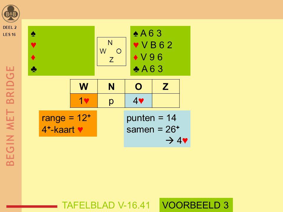 WNOZ 1♥1♥p4♥4♥ DEEL 2 LES 16 N W O Z ♠ A 6 3 ♥ V B 6 2 ♦ V 9 6 ♣ A 6 3 ♠♥♦♣♠♥♦♣ range = 12 + 4 + -kaart ♥ punten = 14 samen = 26 +  4♥ TAFELBLAD V-16