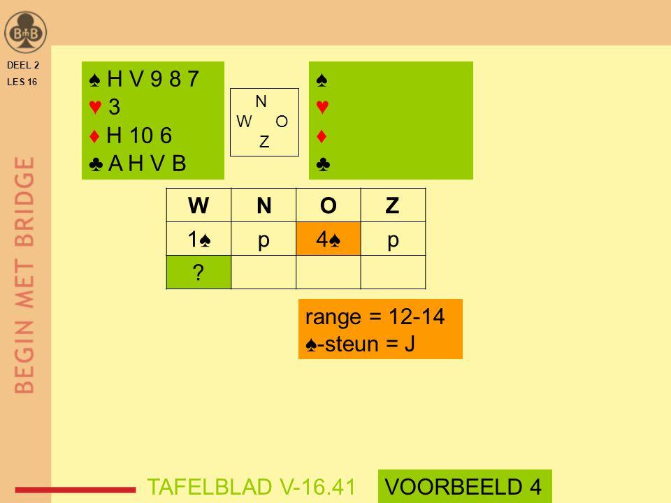 WNOZ 1♠p4♠p ? range = 12-14 ♠-steun = J DEEL 2 LES 16 N W O Z ♠ H V 9 8 7 ♥ 3 ♦ H 10 6 ♣ A H V B ♠♥♦♣♠♥♦♣ TAFELBLAD V-16.41VOORBEELD 4