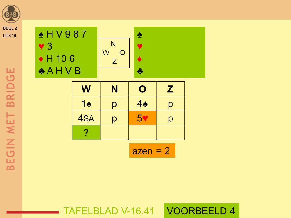 WNOZ 1♠p4♠p 4 SA p5♥5♥p ? azen = 2 DEEL 2 LES 16 N W O Z ♠ H V 9 8 7 ♥ 3 ♦ H 10 6 ♣ A H V B ♠♥♦♣♠♥♦♣ TAFELBLAD V-16.41VOORBEELD 4