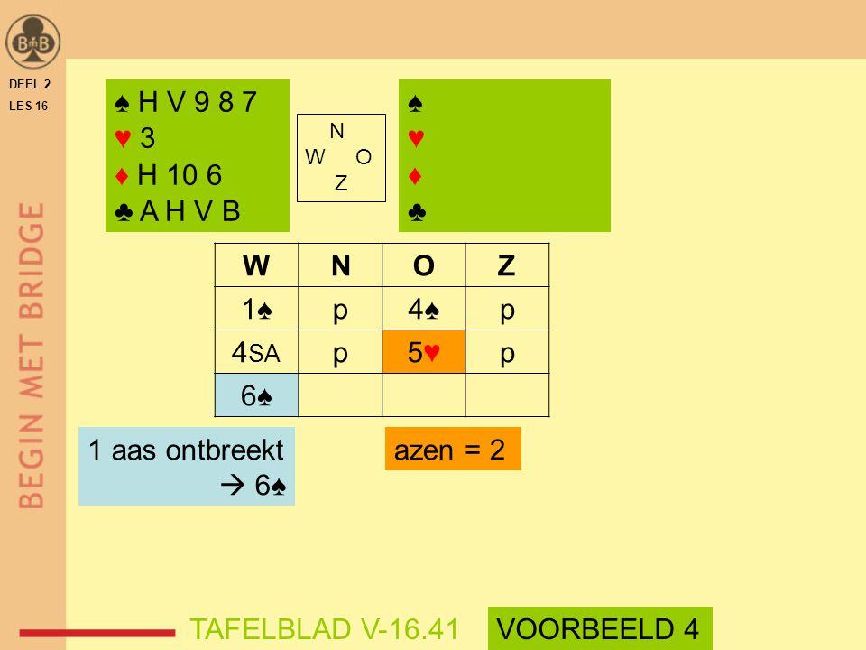 WNOZ 1♠p4♠p 4 SA p5♥5♥p 6♠ azen = 2 DEEL 2 LES 16 N W O Z ♠ H V 9 8 7 ♥ 3 ♦ H 10 6 ♣ A H V B ♠♥♦♣♠♥♦♣ 1 aas ontbreekt  6♠ TAFELBLAD V-16.41VOORBEELD