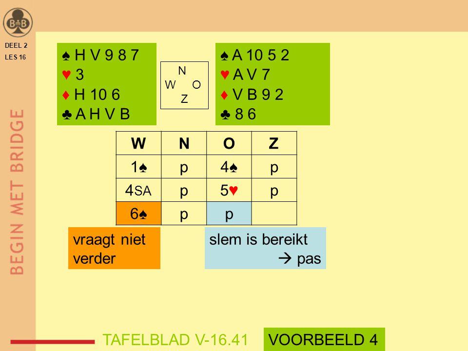 WNOZ 1♠p4♠p 4 SA p5♥5♥p 6♠pp vraagt niet verder DEEL 2 LES 16 N W O Z ♠ H V 9 8 7 ♥ 3 ♦ H 10 6 ♣ A H V B ♠ A 10 5 2 ♥ A V 7 ♦ V B 9 2 ♣ 8 6 slem is be