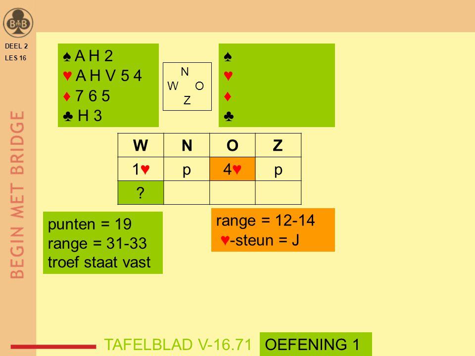 WNOZ 1♥1♥p4♥4♥p ? range = 12-14 ♥-steun = J DEEL 2 LES 16 N W O Z ♠ A H 2 ♥ A H V 5 4 ♦ 7 6 5 ♣ H 3 ♠♥♦♣♠♥♦♣ TAFELBLAD V-16.71OEFENING 1 punten = 19 r